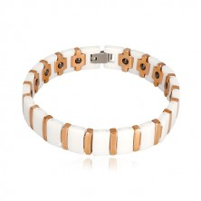 Wolfram-ceramic magnetic bracelet in white and copper colour