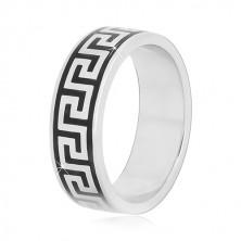 925 silver band with black Greek key pattern, 6 mm