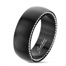 Stainless steel ring with spirals on the sides, matte black, 8 mm