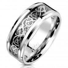 Steel band with ornamental motif in silver and black colour, 8 mm