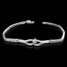 Fine ladies bracelet - zircon between teardrops, heart pattern