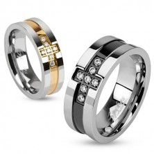 Steel ring with a zircon cross and a copper stripe, 6 mm
