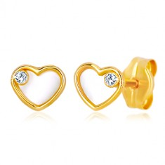 Yellow 585 gold earrings - heart with natural mother-of-pearl and zircon