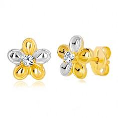 Stud earrings in 14K gold - bicolour flower with clear zircon