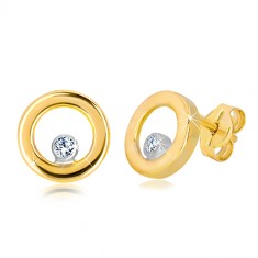 Stud earrings made of 585 white and yellow gold - shiny circle with zircon