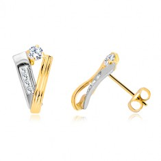 14K gold earrings - a ribbon made of yellow and a stripe made of white gold, clear zircons