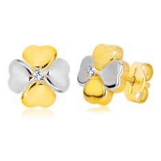 Earrings in 14K combined gold - four leaf clover with a zircon, studs