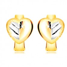 Combined 585 gold earrings - full two-coloured heart with a leaf