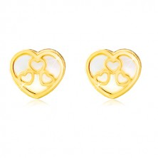 Yellow 14K gold studs – heart with natural mother-of-pearl and cuts out