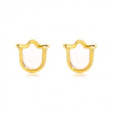 Yellow  585 gold studs – tulip with natural mother-of-pearl