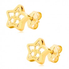 Yellow 14K gold earrings – star with star and mother-of-pearl design