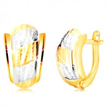 14K gold earrings – an asymmetric arch with strips decorated by notches