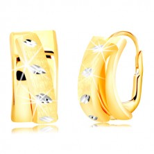 585 gold earrings - matte arch in the shape of the semicircle, white gold grains