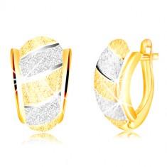 585 gold gliterring earrings – asymmetric arch, stripes, sanded surface
