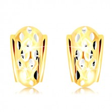 14K Gold earrings - atypical arch decorated with small grains made of white gold