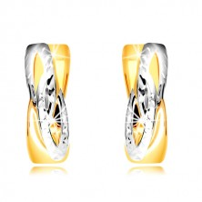 585 earrings of combined gold - rings with angled intertwined pattern