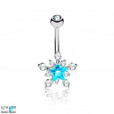 Belly piercing of stainless steel - glittery zircon star