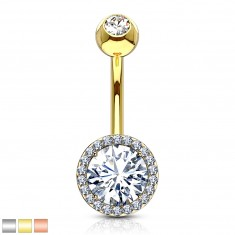 Steel belly piercing - glittery zircon in mount, smaller zircons