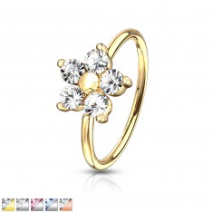 Round nose piercing - flower with five zircons and ball in the centre