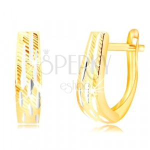 Combined 585 gold earrings - widening strip with notches