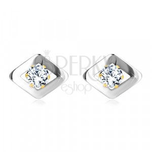Combined 585 gold earrings - a rhombus of white gold and zircon