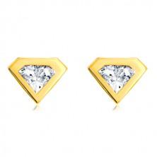 Earrings made of 585 gold - cut zircon with gold rim, diamond motif