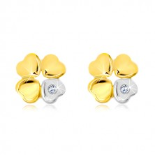 Earrings made of 14K gold - four-leaf for happiness, heart with zircon