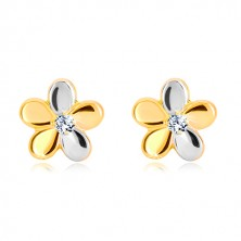 Brilliant 585 gold earrings - flower with five petals and diamond