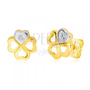 14K gold earrings - symbol of happiness, heart in white gold and a brilliant
