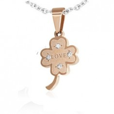 Stainless steel pendant - four-leaf for happiness with romantic title