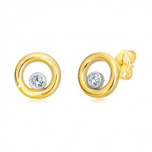 Combined 14K gold earrings - narrow circle with zircon mount