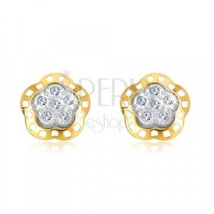 Combined 585 gold earrings - decoratively carved flower with zircons