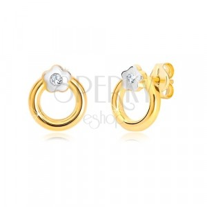 14K combined gold earrings - circle with flower and zircon