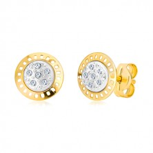 Combined 14K gold earrings - two-colour arch with zircons
