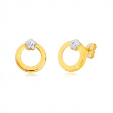 Brilliant 14K gold earrings - arch with diamond in flower of white gold