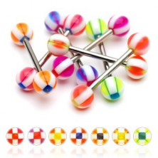 Square patterned ball tongue piercing