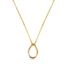 Yellow 9K gold necklace - tear contour, thin chain of oval eyes