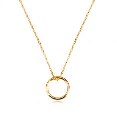 375 gold necklace - fine chain with pendant of smooth glossy circle