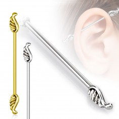 Stainless steel ear piercing - longer barbell finished with wings, 1,6 mm