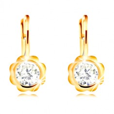 Earring of yellow 585 gold - carved flower with clear round zircon