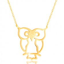 Necklace made of yellow 585 gold - owl symbol of wisdom, glossy thin chain