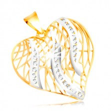 14K gold pendant - contour of heart, flames of white gold with zircons