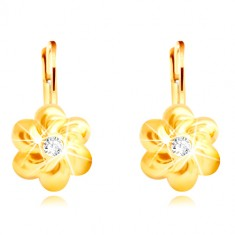 585 gold earrings - flower with six round petals, clear zircon in the centre