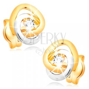 585 gold earrings - two-colour interconnected bands, clear glittery zircons
