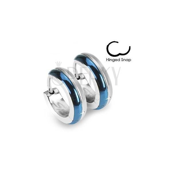 Round steel earrings - combination of blue and silver colour