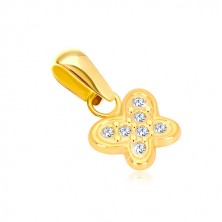 14K gold pendant - glossy butterfly inlaid with tiny clear zircons
