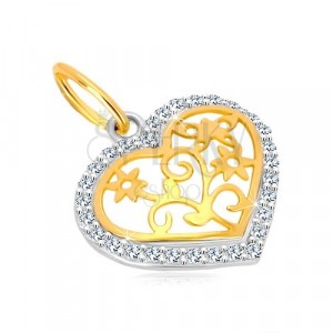 14K gold pendant - heart contour with zircons, decoratively carved centre