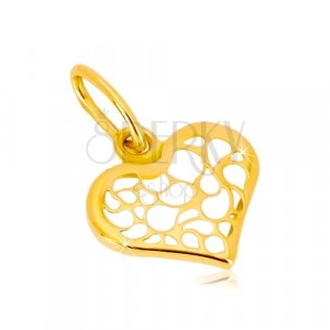 Yellow 14K gold pendant - symmetric heart decorated with filigree