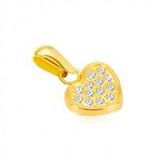 Yellow 14K gold pendant - symmetric heart inlaid with zircons