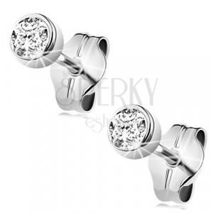 White 375 gold earrings - clear round zircon in mount, 3 mm